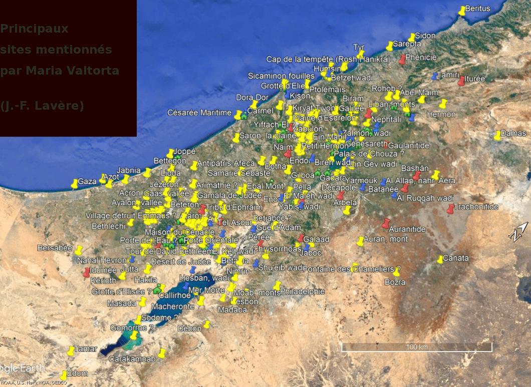 Carte de la Palestine au temps de Jésus à partir des lieux décrits par Maria Valtorta (1/2).