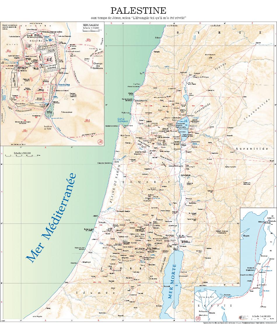 Carte de la Palestine au temps de Jésus à partir des lieux décrits par Maria Valtorta (2/2).