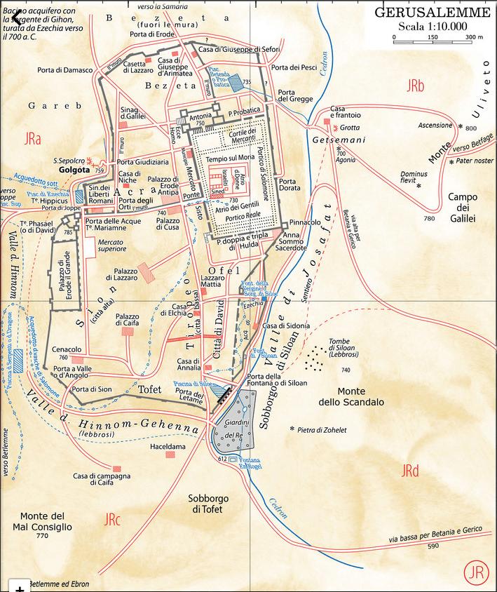 Plan de la ville de Jérusalem au temps de Jésus selon les visions de Maria Valtorta ; en italien (2/2)