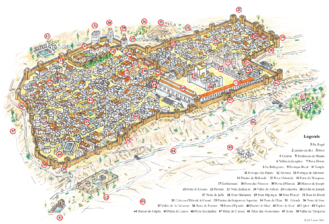 Plan de la ville de Jérusalem au temps de Jésus selon les visions de Maria Valtorta (1/2).