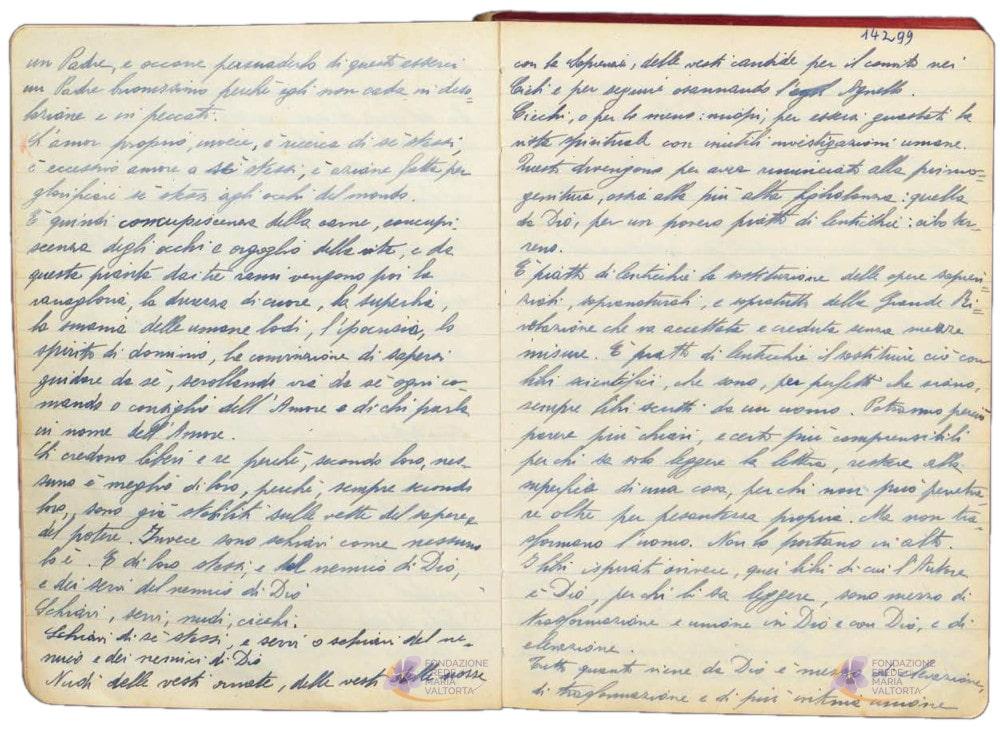 Exemple de pages manuscrites dans les cahiers de Maria Valtorta (1/2)