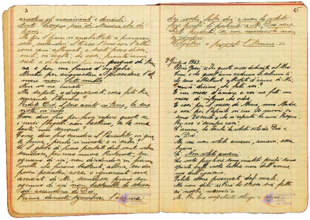 Exemple de pages manuscrites dans les cahiers de Maria Valtorta (2/2)