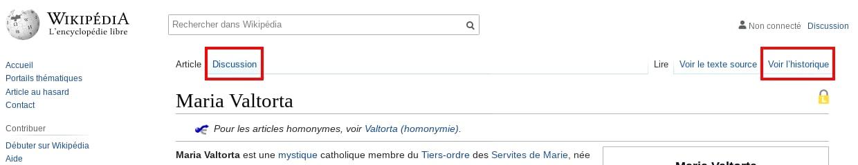 Lire la discussion et l'historique d'un article Wikipédia
